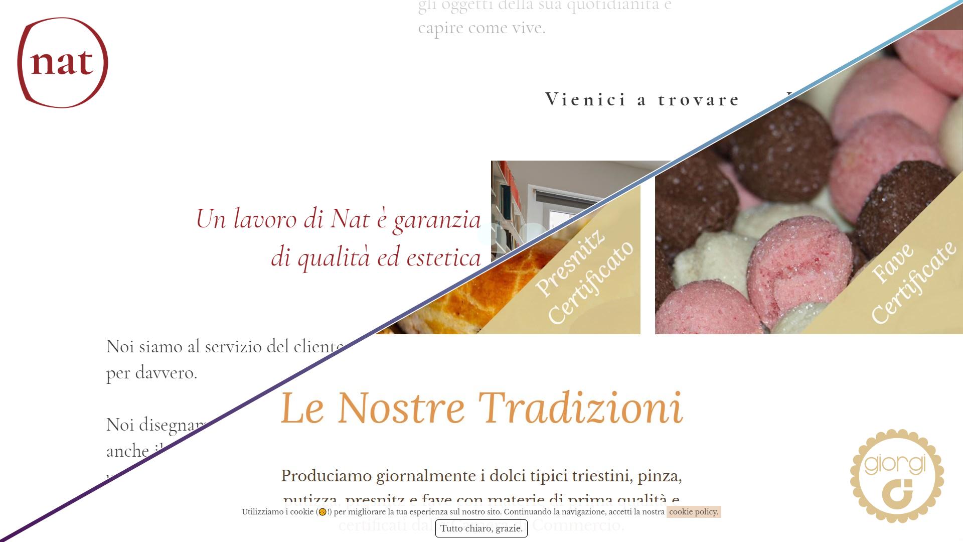 Immagine di parte del sito web di Nat design e di Pasticcerie Giorgi